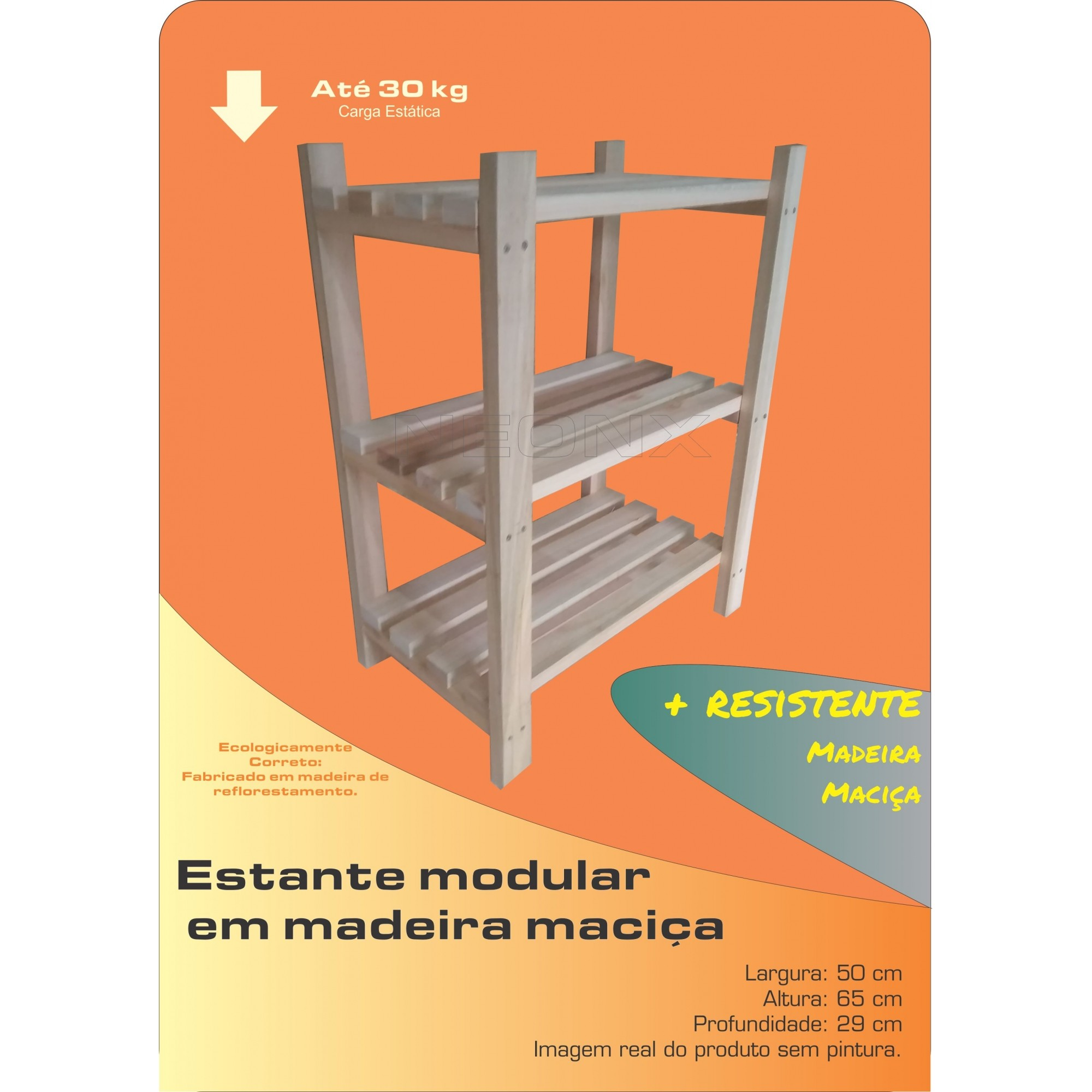 Estante Modular 3 Prateleiras Madeira Maciça 65x50x29 cm NeonX