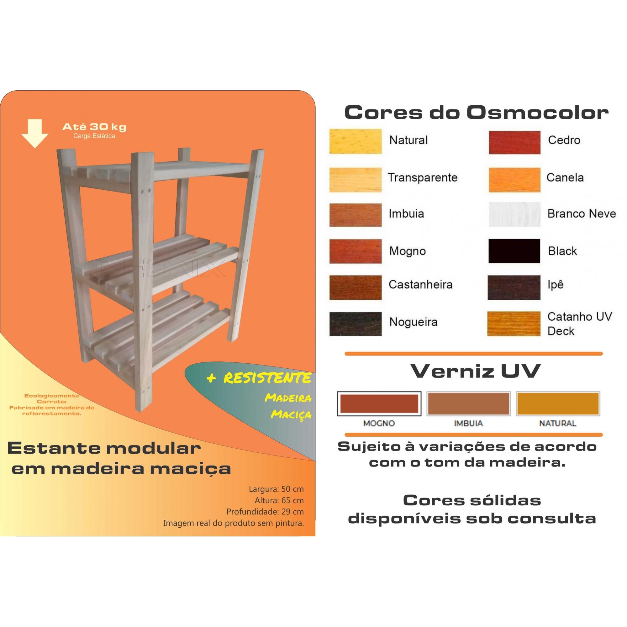 Estante Modular 3 Prateleiras Madeira Maciça 65x50x29 cm Pintada NeonX