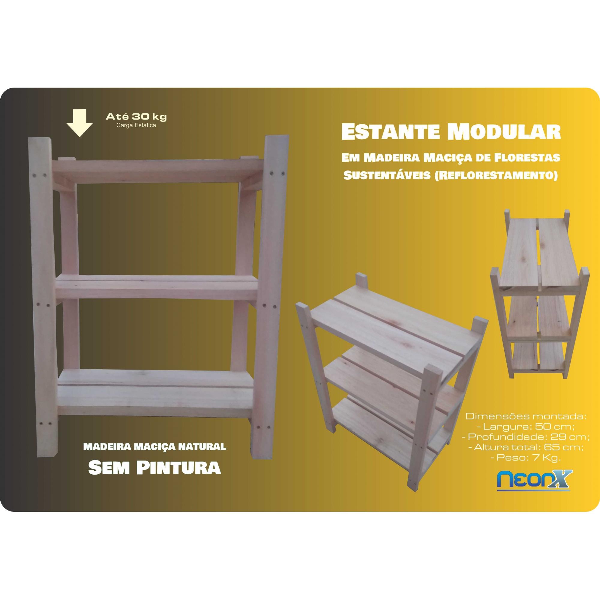 Estante Modular 3 Prateleiras Madeira Maciça 65x50x29 cm (Réguas 12 cm nas prateleiras) NeonX