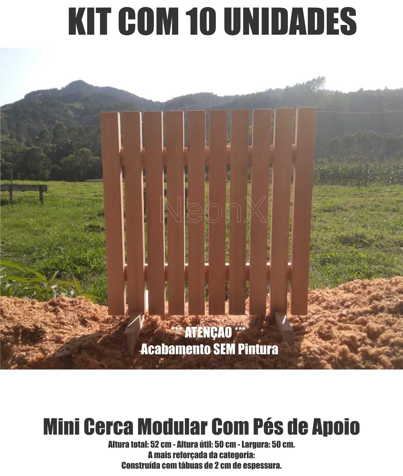 Kit 10 Un Cerca para Jardim Horta Decoração, Interna ou Externa com Pés 50x50 cm Sem Pintura NeonX