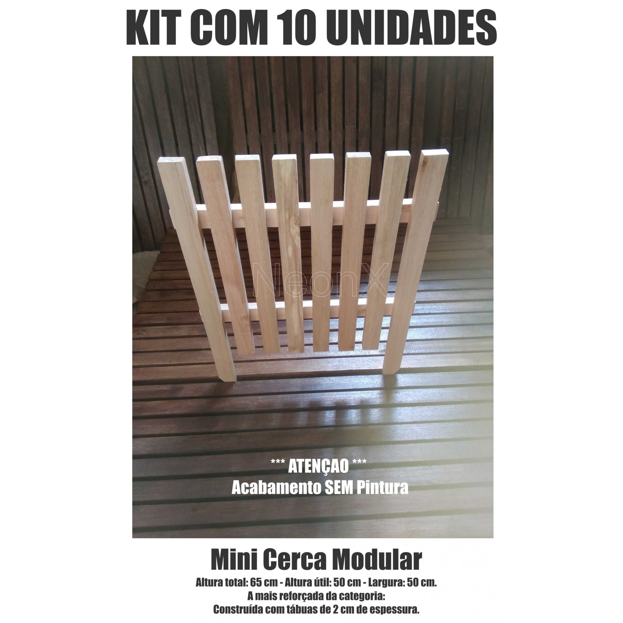 Kit 10 Un. Cerca para Jardim, Horta ou Decoração Clássica Modular Reforçada 50x65 cm SEM Pintura Neonx