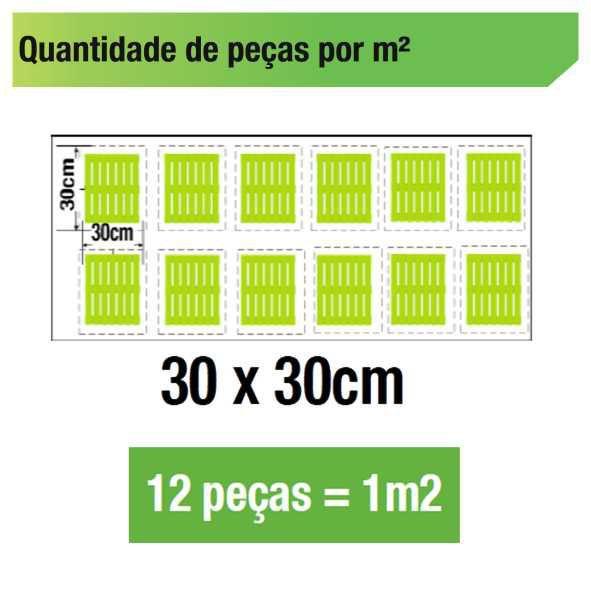 Kit 12 Unidades Deck De Madeira Modular Base 30x30 Cm Neonx