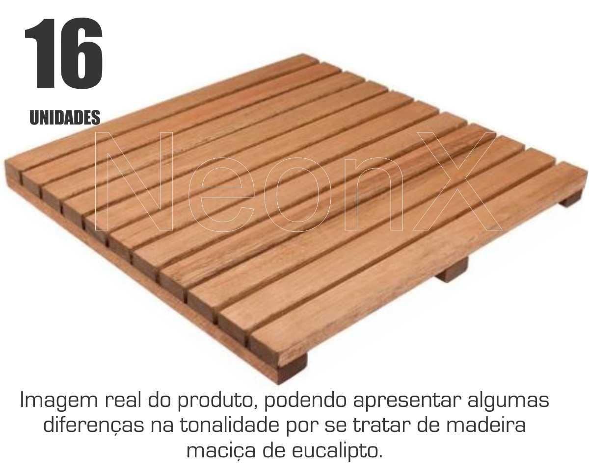 Kit 16 Unidades Deck De Madeira Modular Base 50x50 Cm Neonx