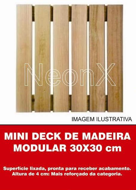 Kit 25 Unidades Deck De Madeira Modular Base 30x30 Cm Neonx