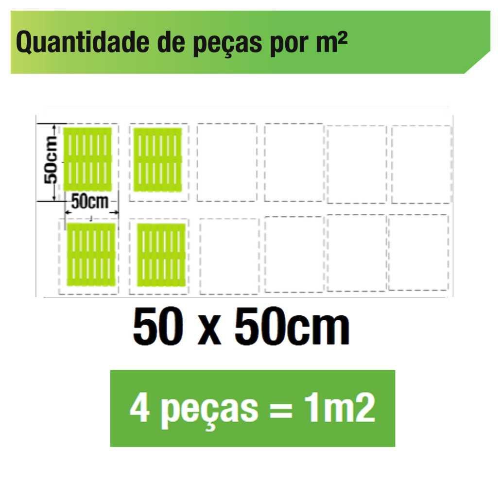 Kit 3 Unidades Deck De Madeira Modular Base 50x50 Cm Neonx