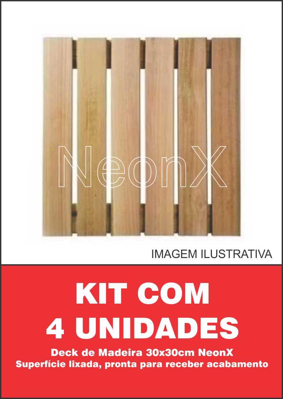 Kit 4 Unidades Deck De Madeira Modular Base 30x30 Cm Neonx