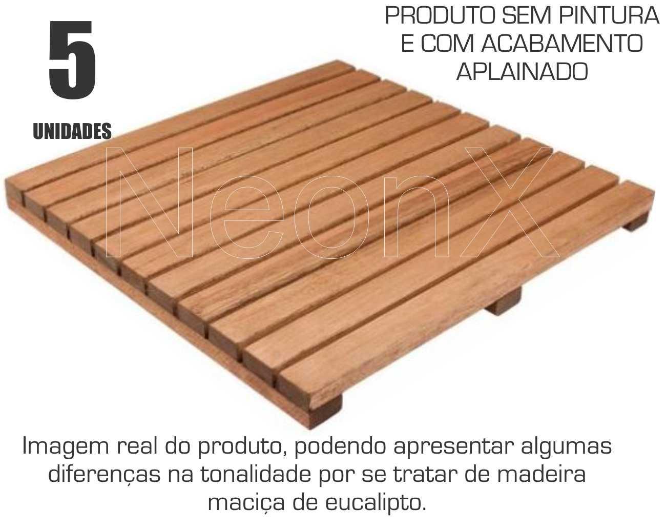 Kit 5 Unidades Deck De Madeira Modular Base 50x50 Cm Neonx