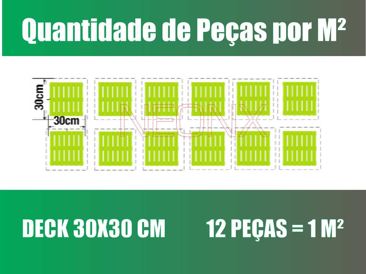 Kit 8 Unidades Deck De Madeira Modular Base 30x30 Cm Neonx Pintado