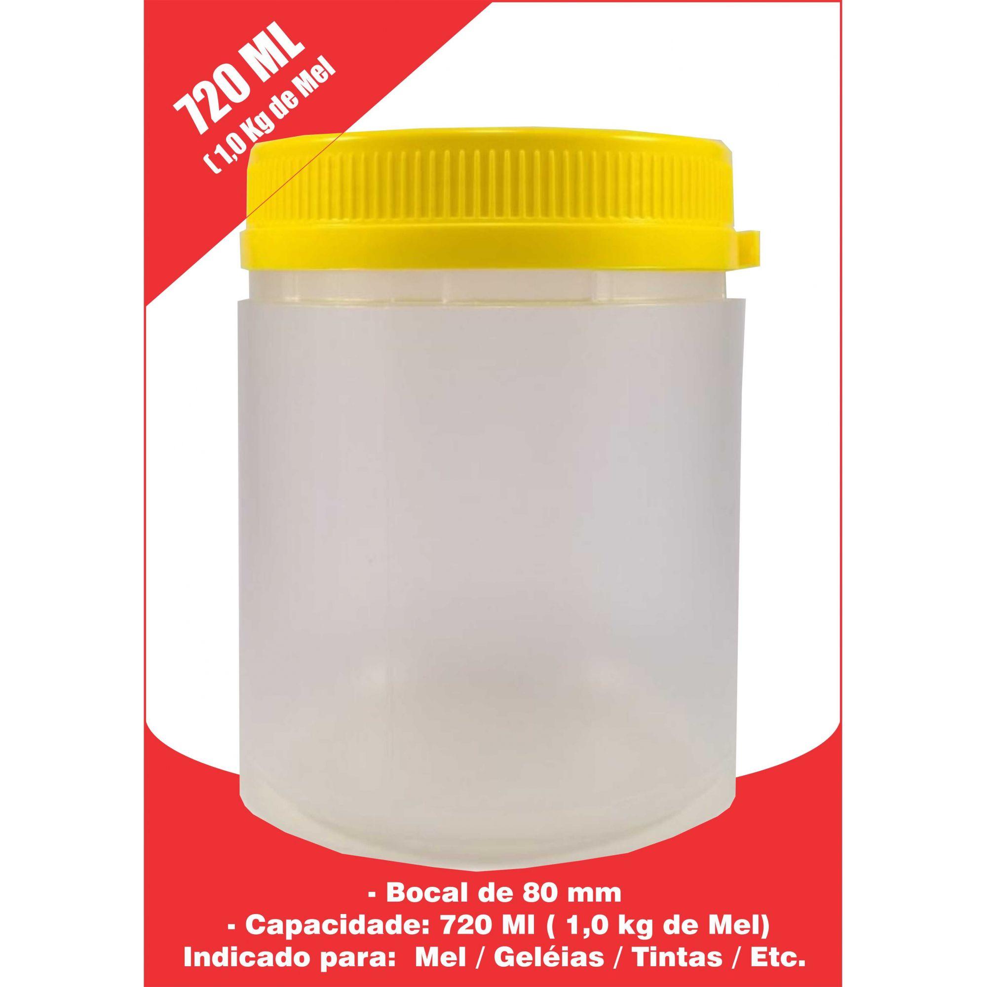 Kit Potes Plásticos Mel, Geléias, Alimentos, Tintas 720 ml (60 unidades) + 350 ml (50 unidades)