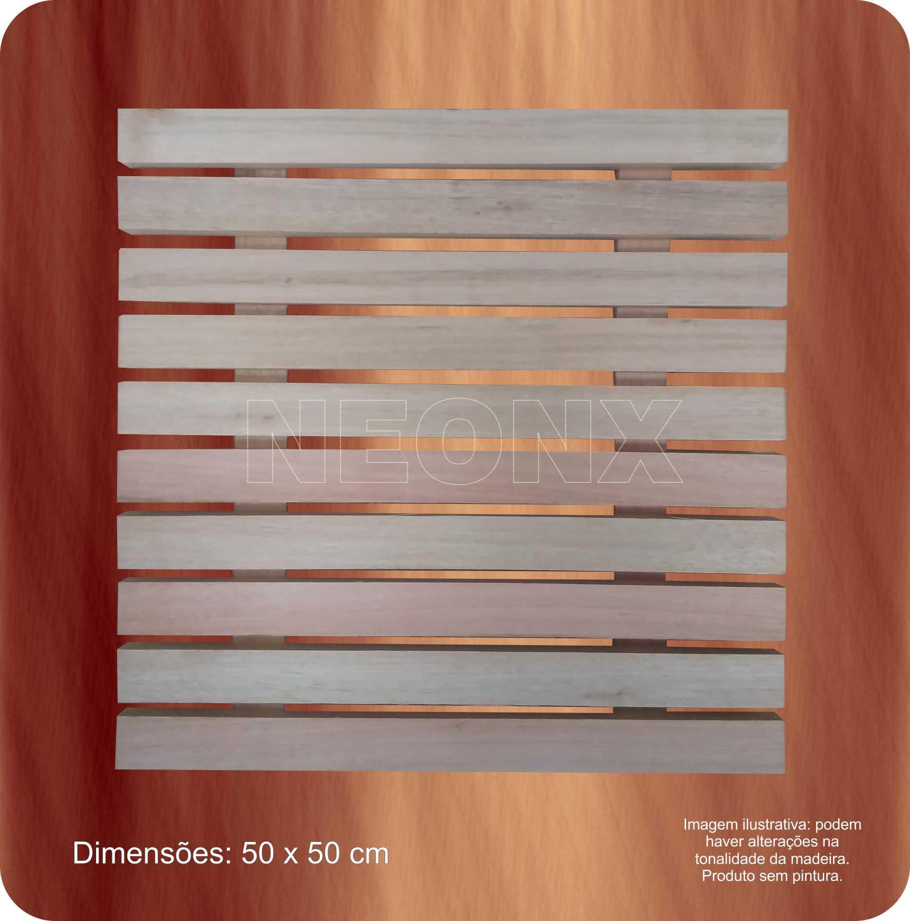 Painel De Madeira Ripado 50x50 cm Recuo 8 cm NeonX Sem Pintura