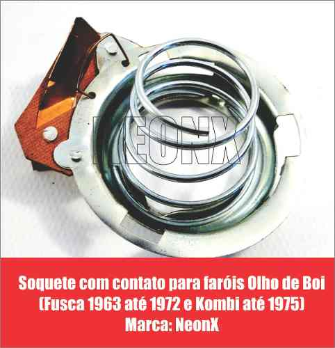 Par Farol Olho De Boi Fusca 1963/1972 + Par Soquete Neonx