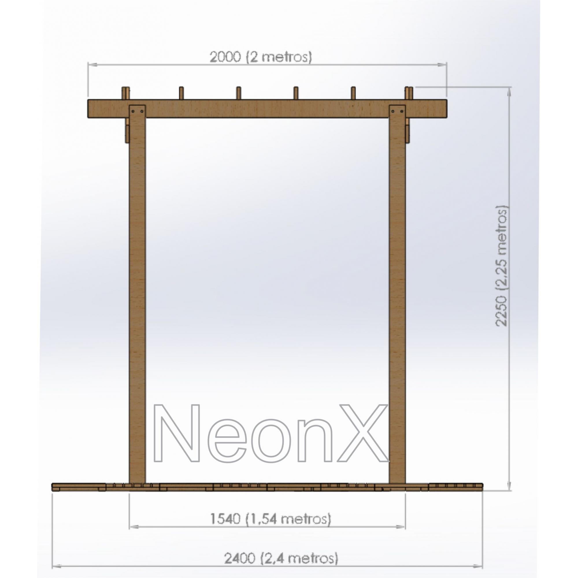 Pergolado Madeira Maciça 2x1,5 m Desmontável Completo e Compacto Com Mini Decks NeonX
