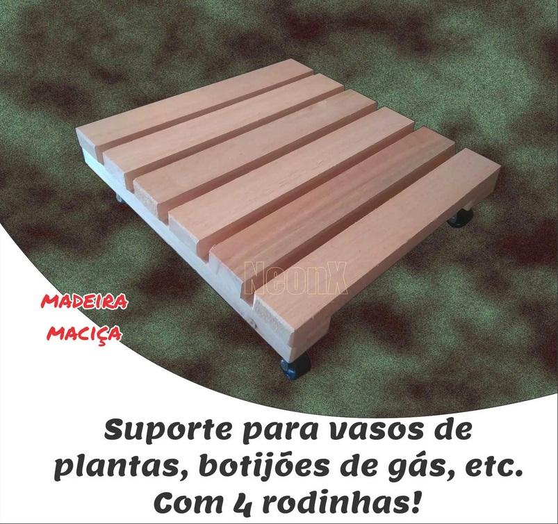 Suporte de Madeira para Vasos Botijão Com Rodas 30x30 cm Sem Pintura NeonX