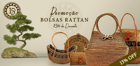 Promoção: 15% de desconto em toda coleção de Bolsas de Rattan!