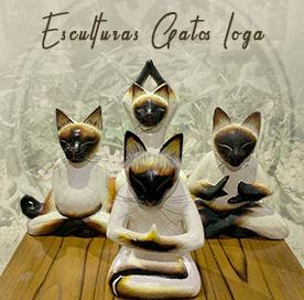 Esculturas de Gatos Ioga