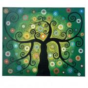 Pintura em Tela Árvore da Vida em pontilhismo Preto, Verde, Azul, Laranja e Branco (120x100cm)