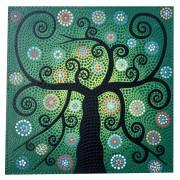 Pintura em Tela Árvore da Vida em pontilhismo Preto, Verde, Azul, Laranja e Branco (50x50cm)