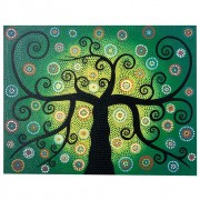 Pintura em Tela Árvore da Vida em pontilhismo Preto, Verde, Azul, Laranja e Branco (90x70cm)