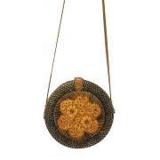 Bolsa Circular em Rattan com Detalhes em Batik e Interior em Tecido ( Alça 60cm  - Bolsa 20cm )