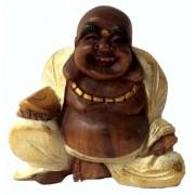 Escultura Buda Maitreya (Hotei) em Madeira Suar com Robes em Branco ( 10 cm )