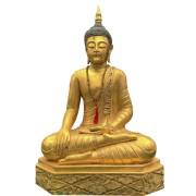 Buda Sidarta em Resina com Pintura de Folha de Ouro (30x55x80cm)