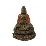 Buda Sidartha em Resina com Robes em Laranja (10cm)