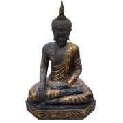Buda Sidartha em Resina Escura com Detalhes em Dourado (30x55x80cm)