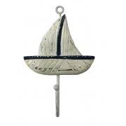 Cabideiro Concha Barco a Vela em Madeira Albésia com Gancho de Metal ( 18cm )