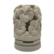 Castiçal em Pedra Areia com Escultura Flor de Hibisco ( 10x15cm )