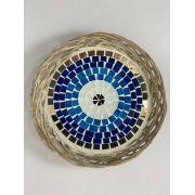 Cesto / Petisqueira em Rattan com Mosaico de Olho Grego