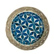Travessa em Rattan com Mosaico Floral Azul