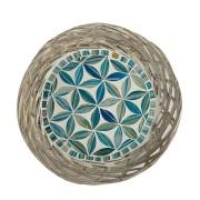 Travessa em Rattan com Mosaico Floral Azul Claro