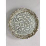 Cesto / Petisqueira em Rattan com Mosaico Floral Prata
