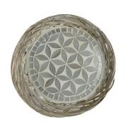 Travessa em Rattan com Mosaico Floral Prateado