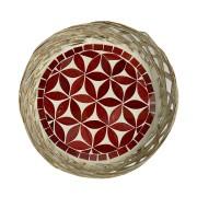 Travessa em Rattan com Mosaico Floral Vermelho