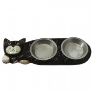 Comedouro para Gatos em Madeira Albésia ( 2 Potes ) Escuro