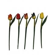 Escultura Flor de Tulipa com Pintura Envelhecida ( 30 cm ) Aberta *PROMOÇÃO: 03 POR R$18*