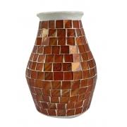 Vaso em Cerâmica com Mosaico de Vidro Colorido ( 15cm )