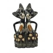 Escultura Casal de Gatos em Madeira Albésia ( 30cm )
