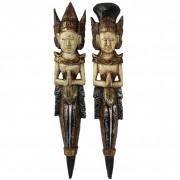 Escultura Casal Rama e Sita para Parede em Madeira Albésia - Bege, Marrom, Verde, Prata e Dourado ( 53cm )
