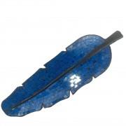 Escultura de Folha em Madeira com Mosaico em Vidro Azul e Detalhes em Preto ( 60x19 cm )