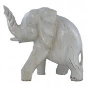 Escultura Elefante em Madeira Albésia em Pátina Branca (24x27x12cm)