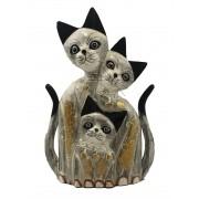Escultura Família de Gatos em Madeira Albésia ( 25cm )
