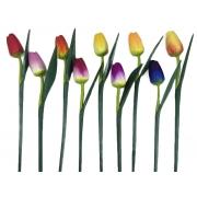 Escultura Flor de Tulipa com Pintura Acrílica Colorida ( 50 cm ) Fechada  *PROMOÇÃO: 03 POR R$22*