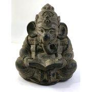 Escultura Ganesha (Lendo) em Resina - 20cm - Preto