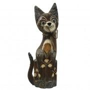 Escultura Gato em Madeira Albésia ( 25cm )