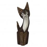 Escultura Gato em Madeira Albésia ( 30x5x9cm )