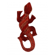 Escultura Lagarto Guecko em Madeira Albesia c/ Pintura Batik Vermelha (20cm)