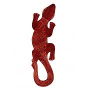 Escultura Lagarto Guecko em Madeira Albesia c/ Pintura Batik Vermelha(40cm)