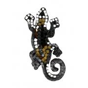 Escultura Lagarto Guecko em Madeira Albesia em Marrom, Bege e Espelho (20cm)